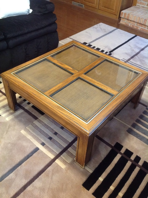 Rectangular wooden framed glass top coffee and end table