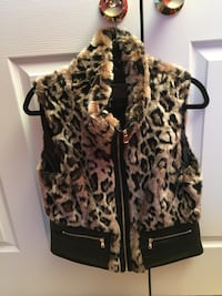 Women's Cheetah print and faux leather trendy vest Chantilly