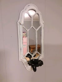 Distressed Candlestick Holder with Mirror