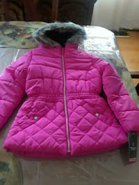 pink and grey zip-up winter jacket 10/12 51 km