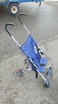 baby's blue and black stroller
