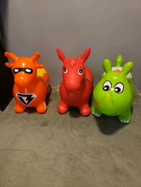 3 Inflatable ride on bounce animal toys