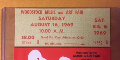 GREAT GIFT! - ORIGINAL 1969 WOODSTOCK FESTIVAL TICKET- will ship