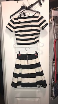 white and black striped scoop-neck short-sleeved shirt and skirt Mary Esther, 32569