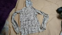 gray and white floral pullover hoodie