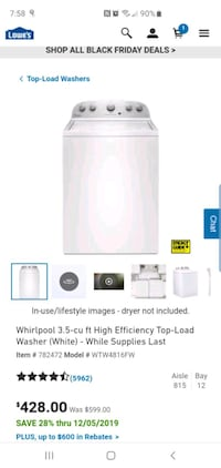 Whirlpool High Efficiency Electric Washer Dryer Free Delivery
