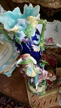 green and purple floral ceramic vase Montreal, H3R 3L4