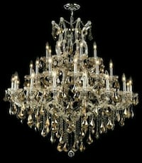 silver-colored chandelier with text overlay 169 mi