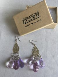 silver and purple gemstone pendant earrings Calgary, T2A 6E4