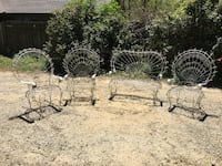 Antique, wrought iron Victorian Twisted Wire Peacock Empress Garden Furniture set.