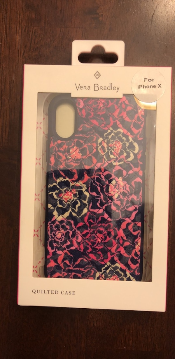 Purple and pink floral vera bradley iphone x case with white box 48963fc1-448c-40b7-b904-9712f16b4195