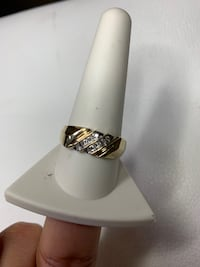 10k Yellow Gold Ring With Slanted Diamonds Rows Sz11