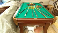 brown and green billiard table set