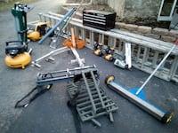 (2)28' aluminum ladders,compressors,magnet roller,2roofing guns,tool c