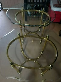 VINTAGE ITALIAN STYLE BRASS AND GLASS SIDE TABLES 2264 mi