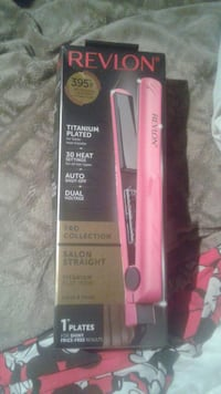 pink Revlon hair iron box