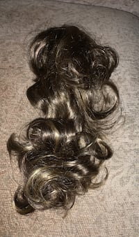 Hair clip on piece brown with light highlights