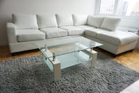 White Faux leather sectional sofa couch  New York, 10280