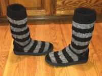 UGG AUSTRALIA 5822 STRIPE CABLE KNIT BLACK/GRAY TALL SHEEPSKIN WINTER BOOTS 7 Puyallup, 98373