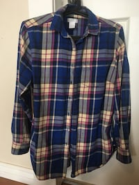 Blue, white, and pink plaid button-up long sleeve flannel. Women's Medium.