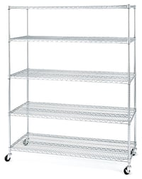 New! Set of Five Adjustable Stainless NSF Wire Shelving