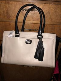 white and black leather tote bag Logan, 84341