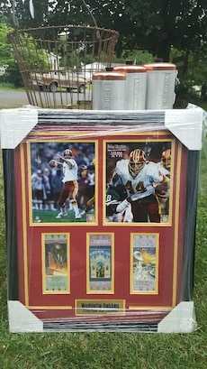 black wooden framed collectible cards