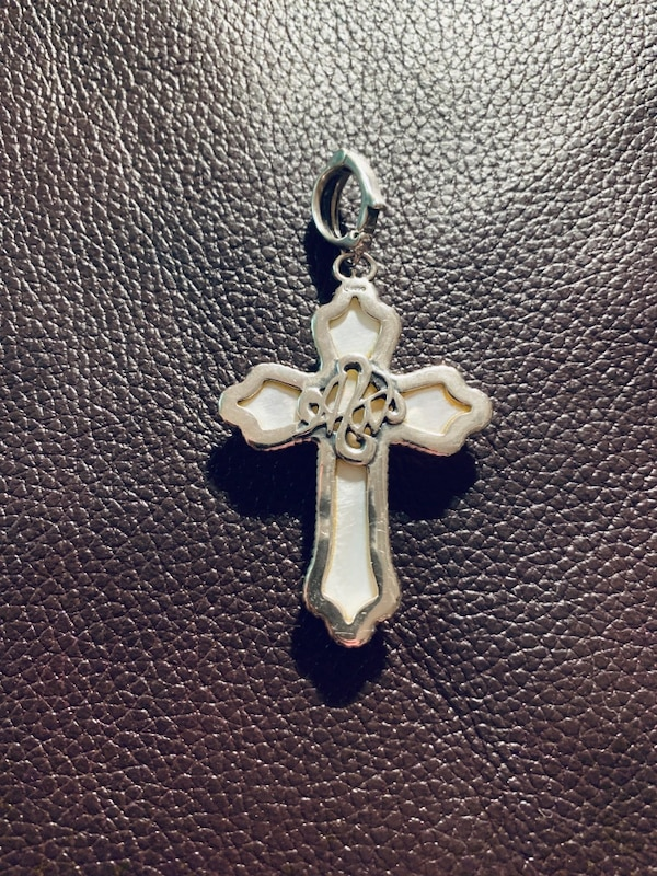 Carolyn Pollack Sterling Silver Carved Mother of Pearl Cross Pendant 078e9097-a97b-41a6-b207-6994e6189a85