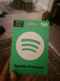 One year Spotify membership, gift card is for $99 selling for $75 Toronto, M2N 2V8