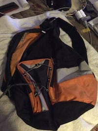 brown and black backpack