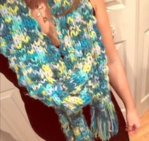 Blue/Green Knitted Scarf