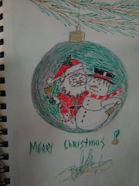 green bauble Christmas decor drawing