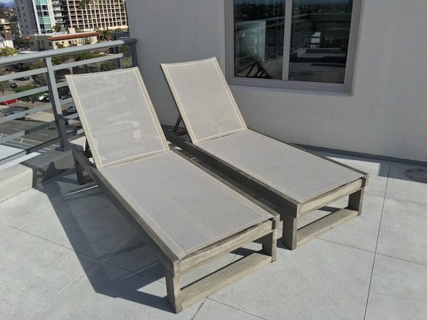Fabulous West Elm Portside Wood Chaise Lounge Chair Set Of 2 Color Weathered Gray Squirreltailoven Fun Painted Chair Ideas Images Squirreltailovenorg