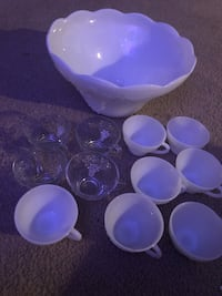 Punch bowl and glasses white bowl and some cups and clear cups Council Bluffs, 51501