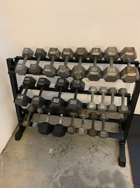 3 tier dumbbell rack for sale brand new in box.(weights not included)