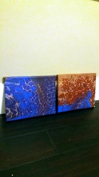 Two blue and red 8x10 canvas paintings