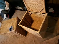 two brown wicker baskets with lids and glass top Edmonton, T5L 1A7