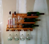 Rustic Wall Mount Wine Rack, horizontal bottle dis Indian Trail, 28079