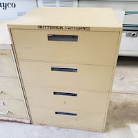 Vintage Solid Steel Butterick Pattern Cabinets w/ (4) Full Extension Drawers from the Ben Franklin Store - Circa 1960's/1970's - Very Good Condition