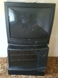 black CRT TV with black wooden TV stand San Antonio, 78219