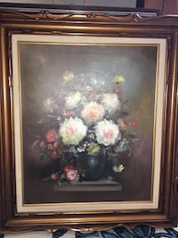 Oil on canvas framed painting of flowers Côte-Saint-Luc, H4W