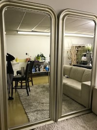 Silvery gold framed mirror