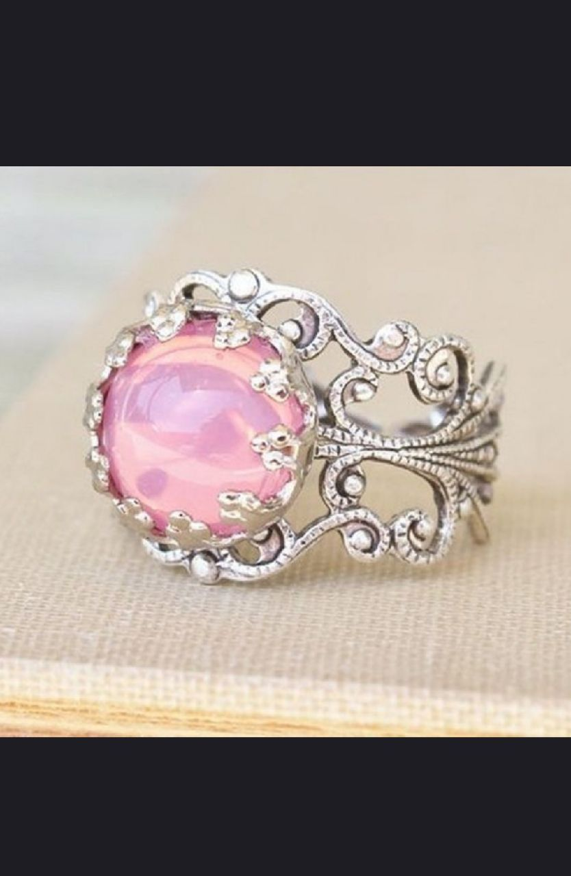 Photo Silver and Pink Fire Opal Ring Size 6