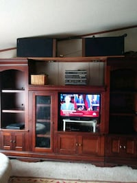 brown wooden TV hutch with flat screen television Byron, 31008