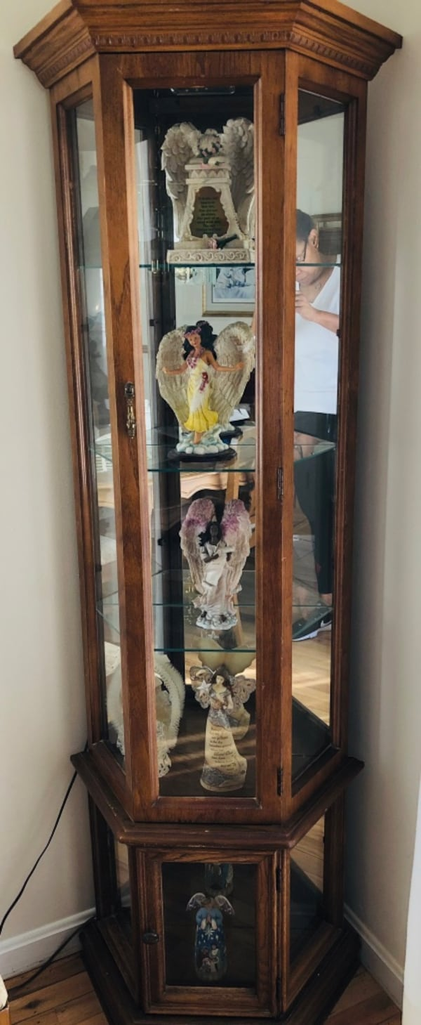 Wooden Curio Cabinet- angels not included. Cash only. You pick up and move. Location Willow Grove, PA 19090 9cd13679-dcb5-4e5f-acd4-ec2e00d7fe1c