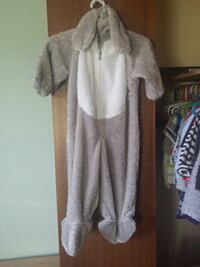 Toddler's white and grey rabbit costume