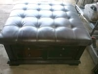 tufted black leather ottoman chair 42 km
