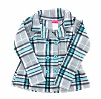 Penny M Girls Fleece Peacoat Size 6 Aqua Grey Gingham Jacket Plaid Check Coat Brant