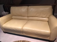 white leather 2-seat sofa null