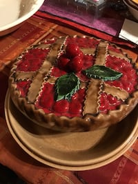 Cherry pie plate and cover use it or not for pies or decoration  Richmond, 56368